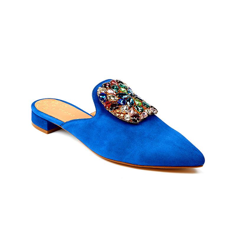 Damen Slipper Blau mit Edelsteinbrosche Pedro Miralles